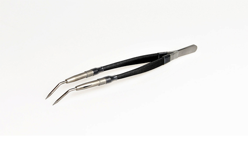 Tweezers with tungsten tips (2.4mm), bent
