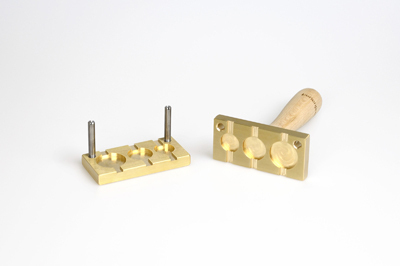 Bead press for the flat mandrels: three pastilles, flat - 26, 22, 18mm, mandrel guides 5x2mm