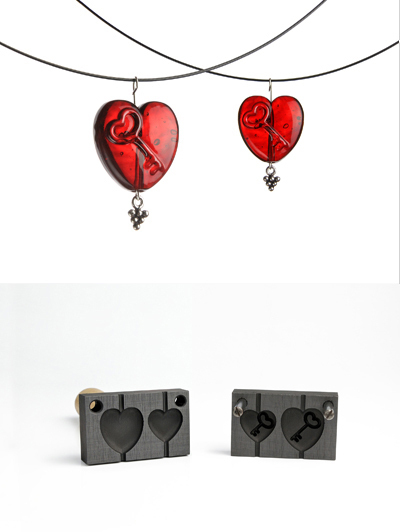 Bead press two pendants - heart with key sign (pattern 16_4)