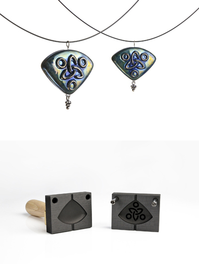 Bead press pendant with celtic pattern (pattern 12_8)