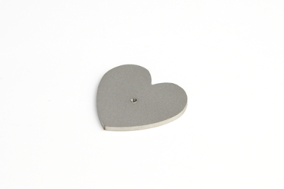 Cabochon disk, heart, with 2.5mm thread